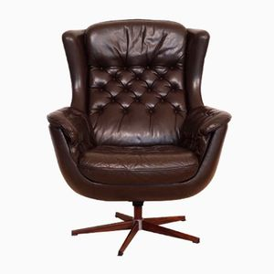 Vintage Danish Leather Swivel Armchair