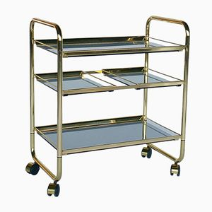 Brass and Smoked Glass Folding Trolley, 1970s