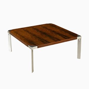 Vintage Rosewood Veneer & Chromed Metal Coffee Table by Osvaldo Borsani for Tecno