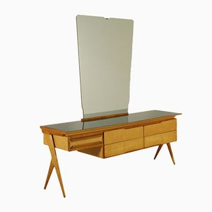 Maple and Ash Veneer Dresser with Mirror, 1950s