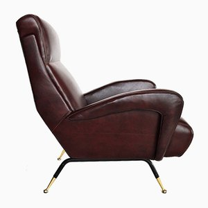 Italian Leather Armchair, 1950s