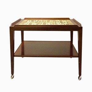 Rosewood Trolley with Ceramic Tiles by Severin Hansen for Haslev, 1970s