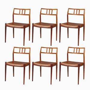 Palisander Esszimmerstühle von N. O. Møller für J.L. Møllers, 1950er, 6er Set