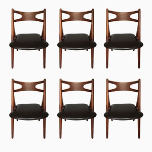 CH-29 Sawbuck Chairs in Teak by Hans Wegner for Carl Hansen & Søn, 1950s, Set of 6