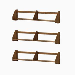 Scandinavian Modern Wall Shelves by Hans J. Wegner for Ry Møbler, Set of 3