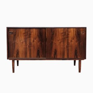 Mid-Century Low Danish Rosewood Cabinet with 2 Sliding Doors