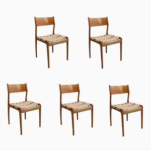 Mid-Century Rope Dining Chairs from Fratelli Reguitti, Set of 5