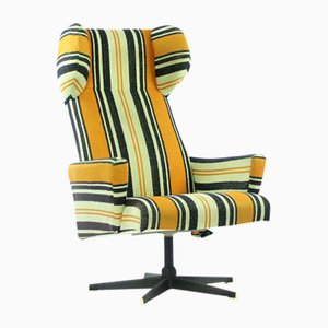 Czech Wing Back Swivel Chair in Striped Fabric, 1960s