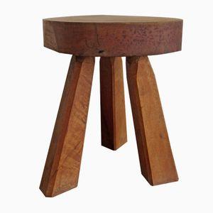 Französischer Vintage Dreibein Holzhocker, 1960er
