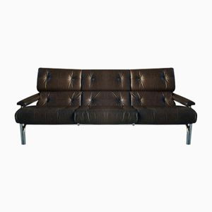 Mid-Century Leather Three-Seater Alpha Sofa from Pieff