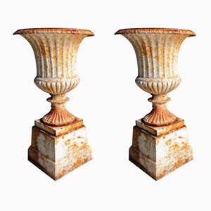 Cast Iron Garden Urns, 1900s, Set of 2