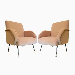 Italian Vintage Pale Pink Velvet Armchairs, Set of 2