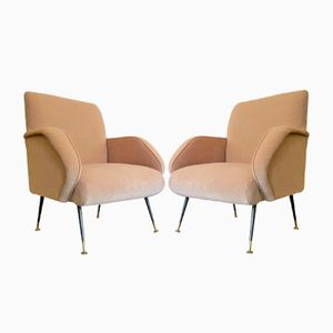 Italienische Vintage Sessel in Rosa aus Samt, 2er Set