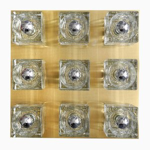 Large Cube Glass Ceiling Lamp in Brass from Peill & Putzler, 1970s
