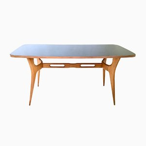 Italian Maple Dining Table with Glass Top, 1950s