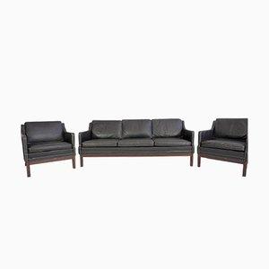 Schwarze Vintage Büffelleder Sessel & Sofa, 3er Set