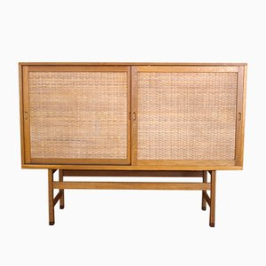 Danish RY33 Oak & Rattan Highboard by Hans Wegner for Ry Møbler, 1962