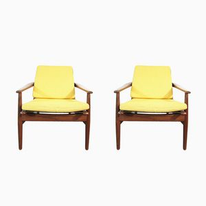 Vintage Danish Yellow Lounge Chairs, Set of 2