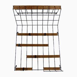 Steel Wire & Rattan Wall Coat Rack, 1960s
