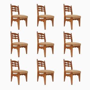 Esszimmerstühle aus Massiver Eiche von Guillerme et Chambron, 9er Set