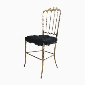 Brass & Goatskin Chair from Chiavari, 1950s