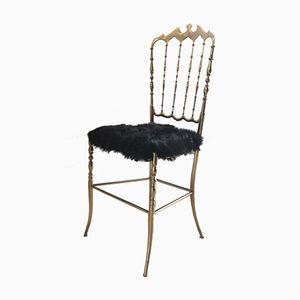 Chaise en Laiton & Peau de Chèvre de Chiavari, 1950s
