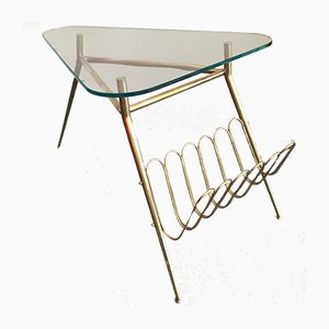 Mid-Century Italian Coffee Table with Magazine Holder