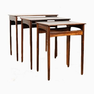 Vintage Danish Nesting Table Set in Rosewood Veneer