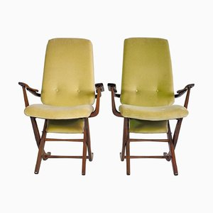 Vintage Wood & Velvet High Backed Armchairs, Set of 2