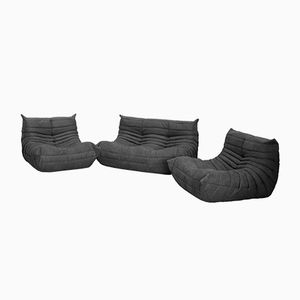 Grey Microfibre Togo Sofa Set by Michel Ducaroy for Ligne Roset, 1970s, Set of 3