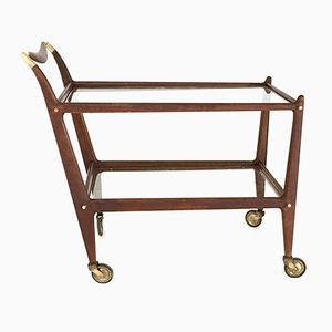 Italian No. 58 Mahogany Serving Cart by Ico Parisi for De Baggis, 1950s