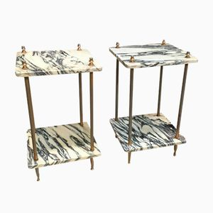 Marble and Gilt Metal Floor Shelves, 1950s, Set of 2