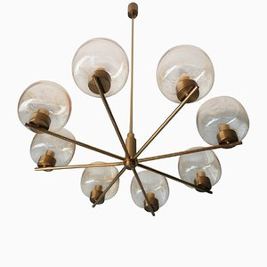 Vintage Brass and Blown Amber Glass Chandelier
