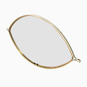 Mid-Century Eye-Shaped Mirror with Wood and Gilt Metal Frame, 1970s