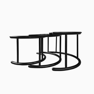 Black Lacquered Wooden Tria Nesting Tables by Gianfranco Frattini for Morphos, 1989
