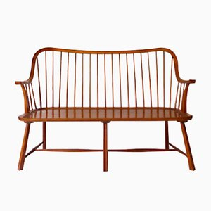 Scandinavian Bench with Curved Backrest and Struts, 1950s
