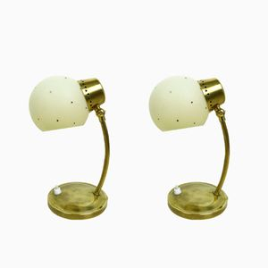 German Brass Night Lamps, 1950s, Set of 2