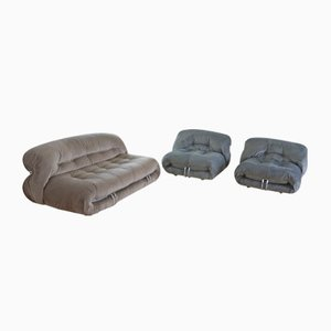 Vintage Soriana Sofa & Armchairs by Tobia Scarpa for Cassina, Set of 3