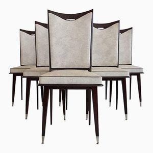 Chaises de Salon Vintage en Chêne Laqué Foncé, Set de 6