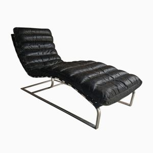 Vintage Mid-Century Leather Chaise Lounge from Oviedo