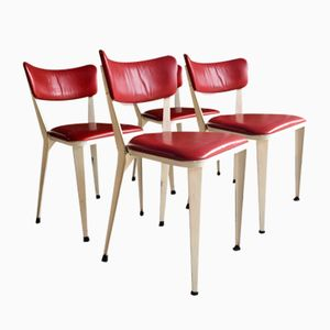 BA3 White Aluminum & Cherry Red Leather Dining Chairs by Ernest Race, 1950s, Set of 4