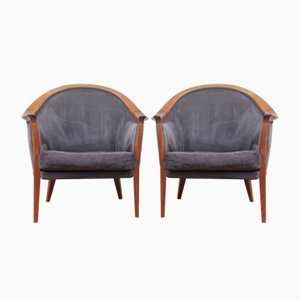 Walnut & Alcantara Lounge Chairs by Bertil Fridhagen for Bodafors, 1963, Set of 2