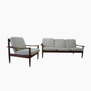 Mid-Century Teak 3-Seater Sofa & Armchair