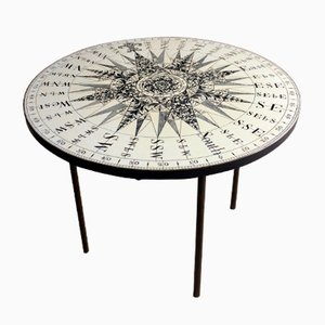 Mid-Century Circular Occasional Table with Compass Top