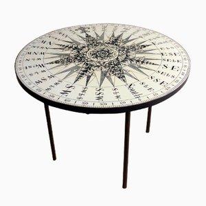 Runder Mid-Century Beistelltisch mit Kompass- Tischplatte