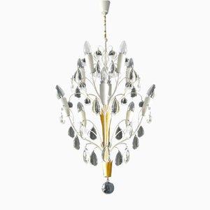 Brass & Crystal Glass Chandelier from Vereinigte Werkstätten, 1950s