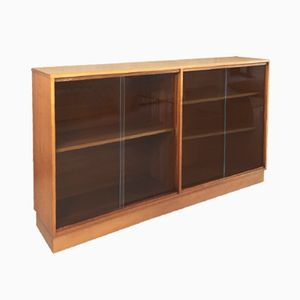 Long & Low Beech Bookcase with Glass Sliding Doors from Morris of Glasgow, 1970s