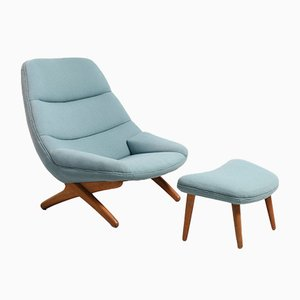 ML91 Lounge Chair with Ottoman by Illum Wikkelsø for Mikael Laursen, 1950s