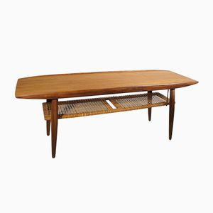 Mid-Century Coffee Table in Teak and Rattan