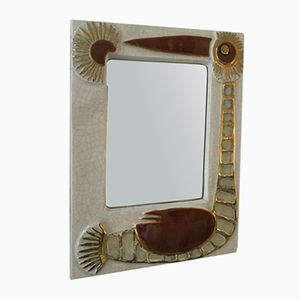 Ceramic Mirror by Francois Lembo, 1960s